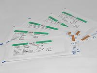 Хирургический шовный материал, нить NYLON 1 USP 75 см, обратно-режущая косметическая игла 35 мм 3/8