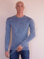 Свитер мужской Ittierre голубой без узоров V-горло BW-762-1