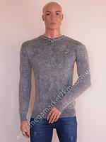 Свитер мужской Ittierre серый без узоров V-горло BW-762-3