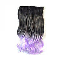 Накладные волосы на заколках черно- фиолетовые омбре волнистые тресс