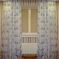 Готовый комплект штор 3 х 2,5 м органза France белый+голубой, фото 1