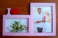 Мультирамка на 2 фото love розовая