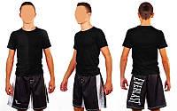 Футболка спортивная детская однотонная черный  хб
