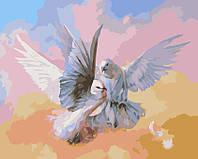 Раскраски для взрослых 40×50 см. Влюбленные голубки, фото 1