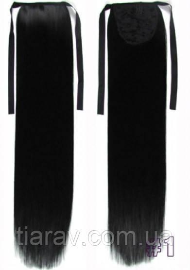 Шиньон хвост накладной на ленте черный волосы