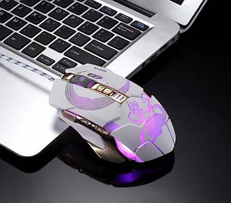 RAJFOO Mute Fox мышь игровая оптическая с программируемыми кнопками. Белая