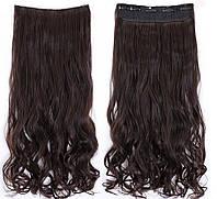 Накладной тресс волос темный шатен волосы на заколках на трессах тресс
