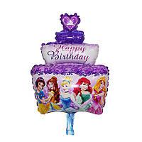 Воздушный шар с днём рождения принцессы happy birthday фиолетовый