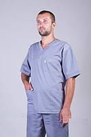 Батистовых мужской медицинский костюм серого цвета с коротким рукавом