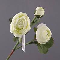 """Искусственный цветок 60 см. """"Ранункулюс"""" белый"""