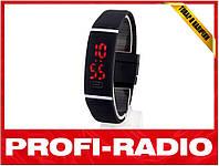 Спортивные силиконовые LED часы чёрные