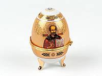 """Шкатулка пасхальное яйцо 10 см. """"Николай Чудотворец"""" фарфор, пасхальная коллекция"""