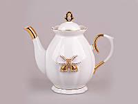 """Чайник заварочный 900 мл. фарфоровый """"Бант"""" белый с золотистым"""