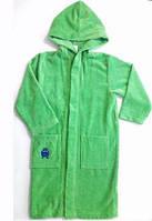 Махровый халат теплый зеленый с капюшоном Alive