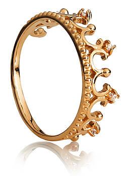 Кольцо Корона серебро с позолотой