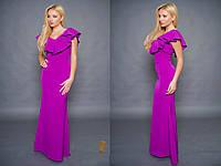 Красивое фиолетовое  платье в пол с воланами. Арт-9601/30