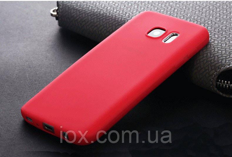 Ультратонкий чехол силиконовый красный для Samsung Galaxy S7