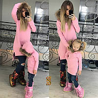 Классная розовая туника с мехом енота на капюшоне. Арт-9602/30