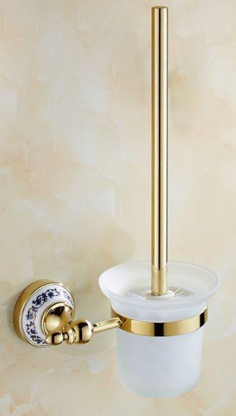 Ершик щетка (вантуз) для унитаза в золоте настенный подвесной