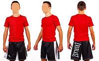 Футболка спортивная мужская  однотонная красная хб