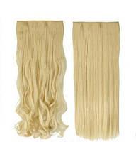 Волосы на заколках Накладная прядь ТЕРМОСТОЙКИЕ волосы блондин светлый натуральный тресс
