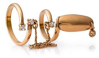 Серебряное кольцо на ногтик с позолотой