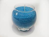 Свеча насыпная синяя 100 гр. с подсвечником