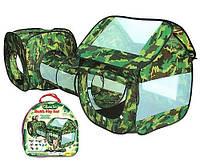 Палатка игровая М 2504, камуфляж, 2 домика с тоннелем, 230*70*85 см, в сумке 42*41*5 см, окна-сетка
