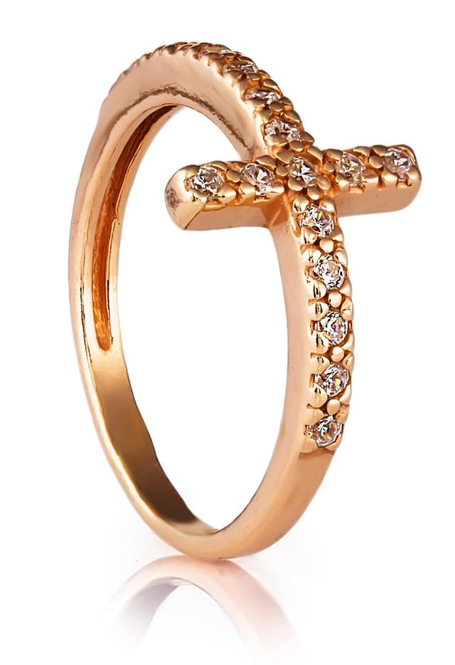Кольцо с крестиком на мизинец