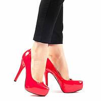 Женские демисезонные туфли лакированные красные L&M Red 3734, р 35, 36, 37, 39, 40