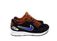 Подростковые кожаные кроссовки Nike Air Max синего цвета