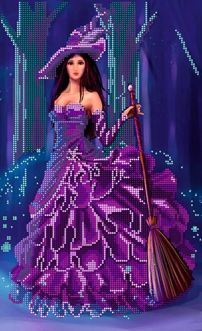 Схема для вышивки бисером POINT ART Ведьмочка, размер 22х36 см