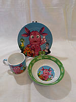 Стеклянная детская посуда (лунтик)набор.