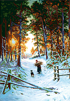 Схема для вышивки бисером POINT ART Зима в лесу, размер 28х40 см