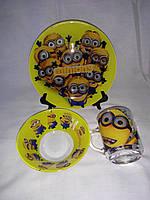 Стеклянная детская посуда(Миньоны) набор.
