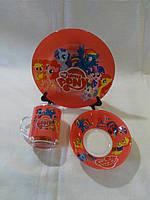 Стеклянная детская посуда Пони, Pony набор