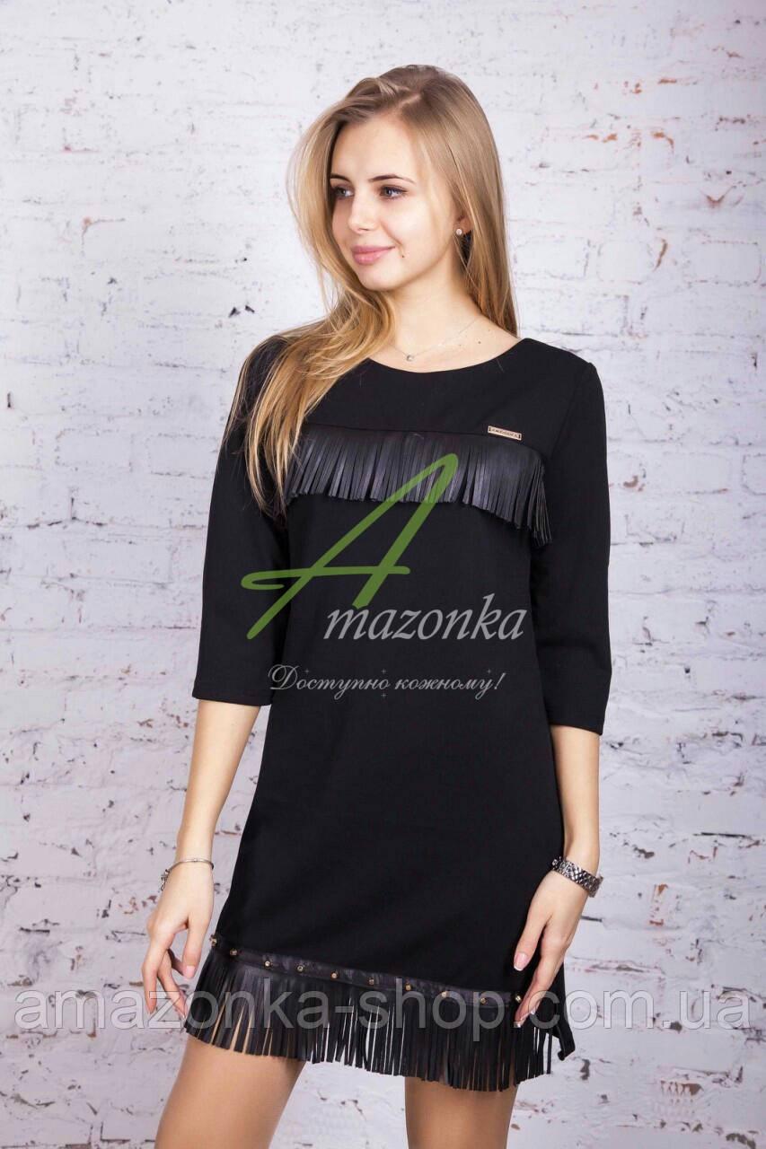 Трикотажное женское платье с кожаными вставками - весна 2018 - Код пл-131