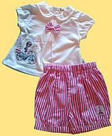 """Комплект """"Париж"""" для новорожденной девочки: блуза и розовые шортики"""