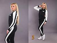 Батальный черный  спортивный костюм с белыми вставками. Арт-9606/30