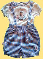 """Комплект """"Париж"""" для новорожденной девочки: блуза и голубые шортики"""