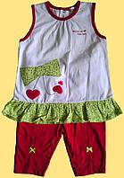 """Комплект летней одежды """"Бантик"""" для девочки: майка и красные лосины, р.80, 92 см"""