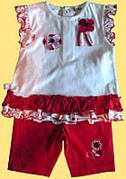 Комплект одежды для новорожденной девочки: блуза и красные велосипедки