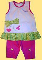 """Летний костюмчик """"Бантик"""" для девочки: майка и розовые лосины, р.80, 86, 92 см."""