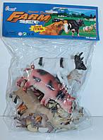 Животные домашние с забором, 15 штук в кульке