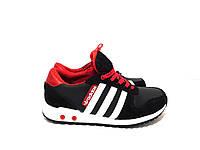 Подростковые кожаные кроссовки Adidas черно-красного цвета