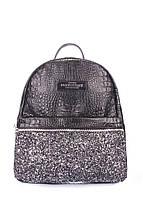Рюкзак женский кожаный POOLPARTY Mini черный пайетки