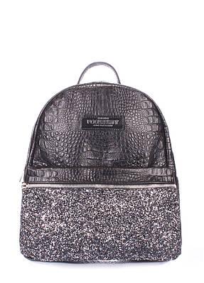 Рюкзак женский кожаный POOLPARTY Mini чёрный пайетки от интернет ... 74a822db2f8