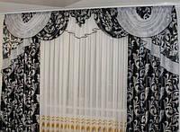 """Готовые шторы с ламбрекеном """"Блек аут"""" для гостиной,спальни .Ширина 2.5м -3.5м высота 2.8.Черно - серый"""