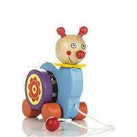 Деревянная игрушка-каталка Улитка на веревочке Д319у Руди