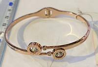 Браслет-кольцо BULGARI 0168 из ювелирной стали золотистого цвета с камнем циркония